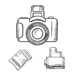 Photo camera memory card and film roll sketches vector image vector image
