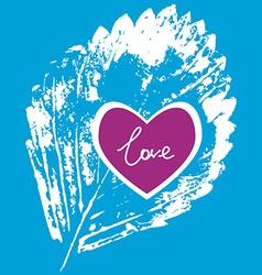 prints white leaf on a blue background love vector image vector image