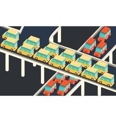 traffic jam car waiting stuck in line road city vector image