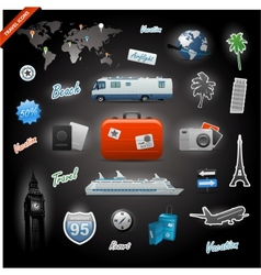 Travel icons elements set vector image vector image