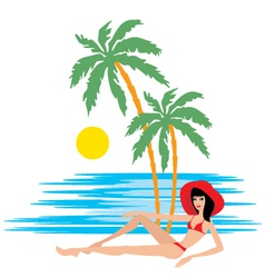 tropical beach with palm trees and woman vector image vector image