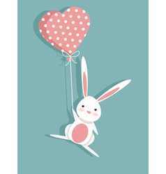 Valentine card with a cute bunny vector image vector image