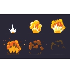 Cartoon explosion effect with smoke vector image