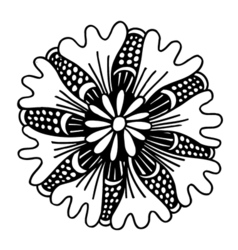 Circle summer doodle flower ornament vector image vector image