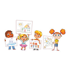 cute kids show their drawings drawn vector image vector image