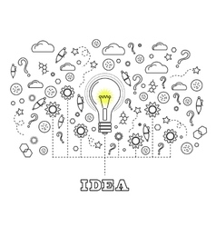 Idea Concept with Light Bulb vector image vector image