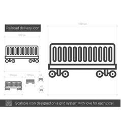 Railroad delivery line icon vector