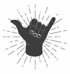 surfing shaka hand with retro sunburst vintage vector image