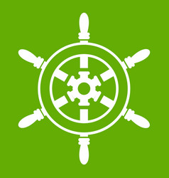 wheel of ship icon green vector image