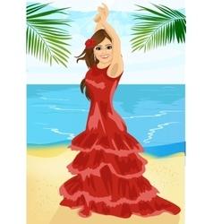 Young woman dancing flamenco on beach vector image