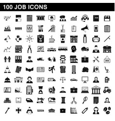 100 job icons set simple style vector image
