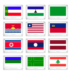 A Group of National Flags on Metal Texture Plates vector image
