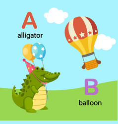 isolated alphabet letter a-alligator b-balloon vector image vector image