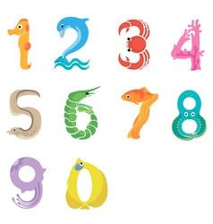 Numbers like sea inhabitants vector image