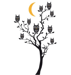 owls sitting on tree vector image vector image