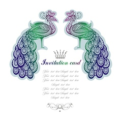 Two peacocks isolated on white background vector image
