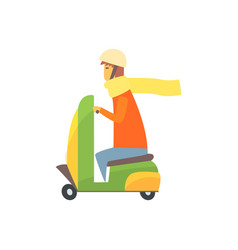 young man riding scooter cartoon vector image