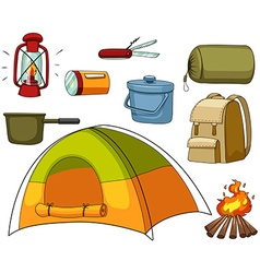 Camping set with tent and equipments vector image vector image