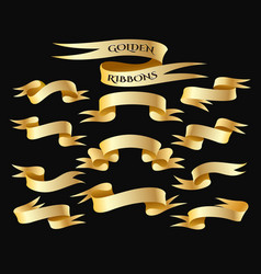 golden ribbon banner set vector image