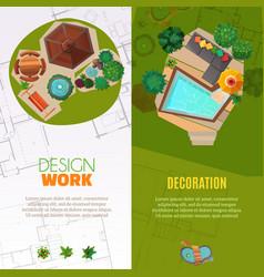 Landscape design top view banners vector
