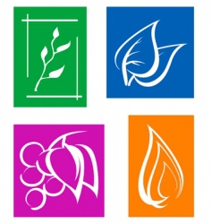 set of leaves symbols vector image