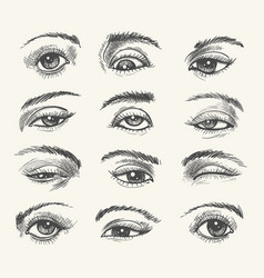 vintage eyes collection vector image vector image