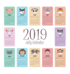 2019 calendar with jolly animal faces vector image