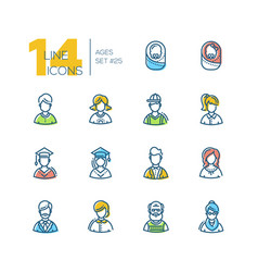 ages - set of line design style icons vector image