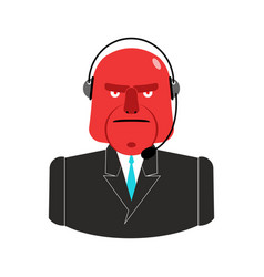 Angry call center red man with headset aggressive vector