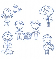 autumn cute kids vector image