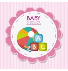 Baby pacifier ball and toy inside flower seal vector image