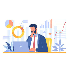 bearded businessman analyzing data on his laptop vector image