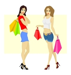 Beautiful woman shopping vector