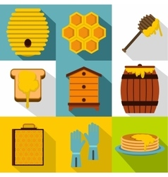 Beekeeping icons set flat style vector