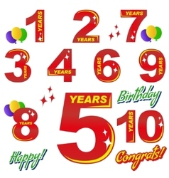 birthday - numbers and elements vector image