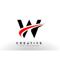 Black and red creative w letter logo design with vector