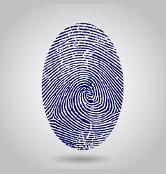 blue isolated fingerprint on grey vector image