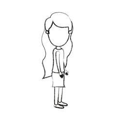 Blurred silhouette cartoon full body faceless vector