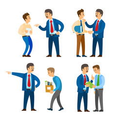 Boss angry with worker sacked person with boxes vector