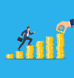 business man is climbing stairs from stacks coins vector image
