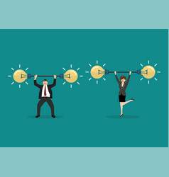 businessman and woman lifting exercise with vector image