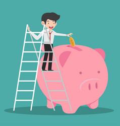 Businessman climb up a ladde putting coin a piggy vector