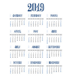 c calendar 2019 week starts from sunday business vector image