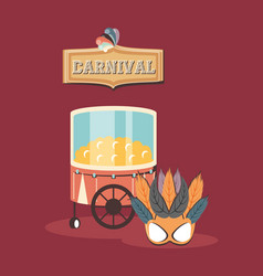 Carnival booth pop corn food and mask retro vector