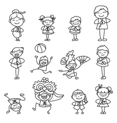 cartoon character Chinese people and kids vector image