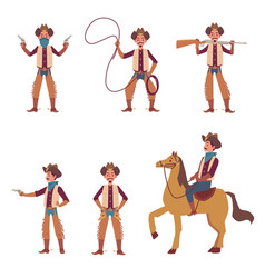 cartoon cowboy set - riding a horse pointing a vector image