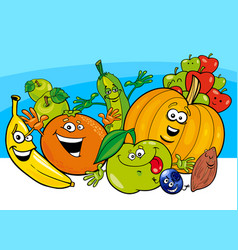 Cartoon vegetable and fruit characters vector