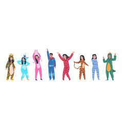 Characters in pajamas cartoon men and women vector