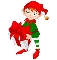 Christmas Elf with Gift vector image