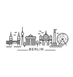 city berlin in outline style on white vector image